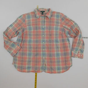 LRL Lauren Ralph Lauren 2X Pink  Button Down  JM-1